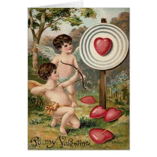 Cupid Heart Bow Arrow Target Field Card