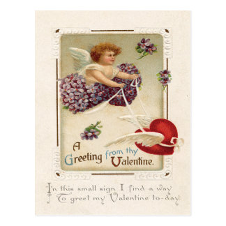 Cupid Heart Purple Forget Me Not Postcard
