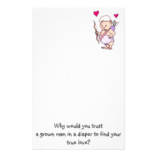 Cupid Humor Valentines Day Personalized Stationery