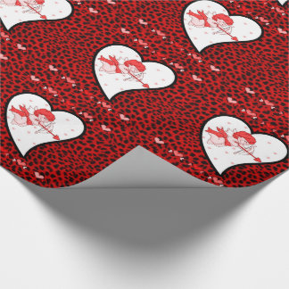 Cupid in a Heart with Red Animal Print Wrapping Paper