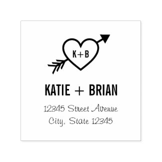 Cupid Initials Personalized Rubber Stamp