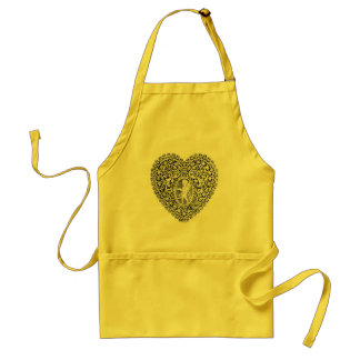 CUPID LACE HEART,black and white Aprons