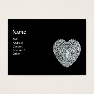 CUPID LACE HEART MONOGRAM BUSINESS CARD
