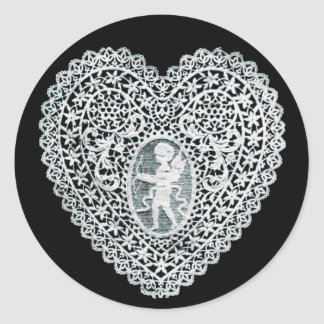 CUPID LACE HEART ROUND STICKERS