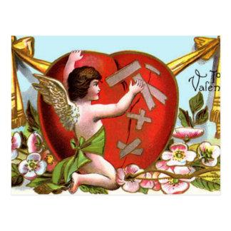 Cupid Mending Broken Heart Postcard