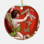 Cupid Mending Broken Heart Round Ceramic Decoration