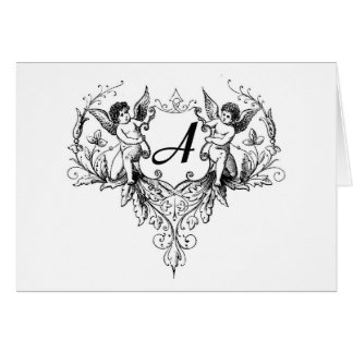 Cupid Monogram A Collection Greeting Card
