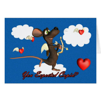Cupid Mouse with flying hearts Card