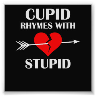 Cupid Rhymes With Stupid Dark Valentines Day Photo Print