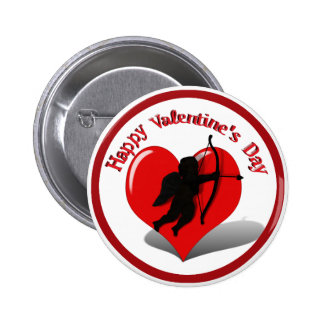 Cupid Silhouette Heart for Valentine s Day Pinback Button