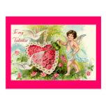 Cupid Valentine Pink Roses Postcard