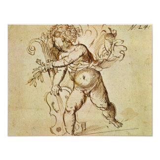 Cupid with a Violin by Campagnola, Renaissance Art 11 Cm X 14 Cm Invitation Card