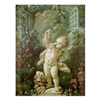Cupid with Grapes Postcard
