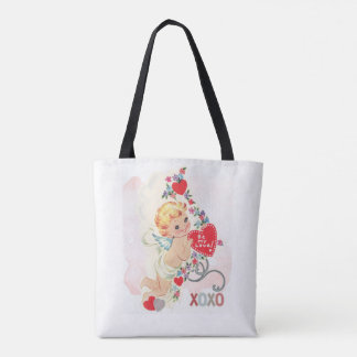 Cupid with red heart tote bag