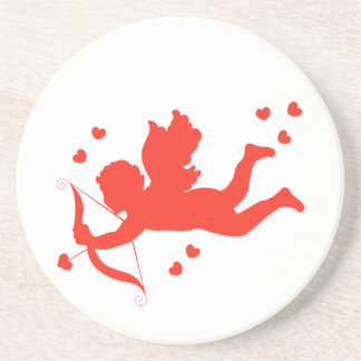Cupid with red hearts coaster