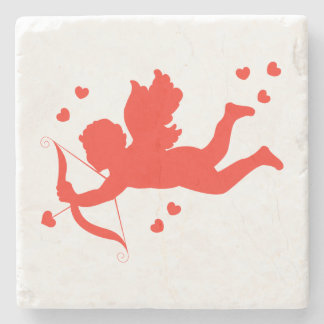 Cupid with red hearts stone coaster