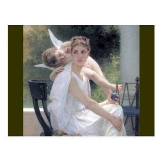 cupid woman work interrupted w bouguereau postcard