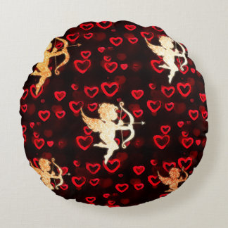 Cupids and Hearts Round Cushion