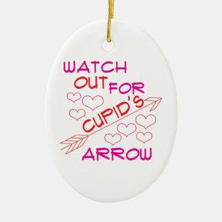 Cupid's Arrow Ceramic Oval Ornament