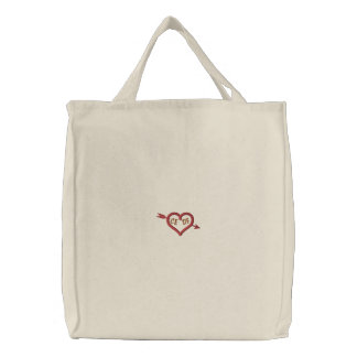 Cupid's Arrow Through Heart Embroidered Bag