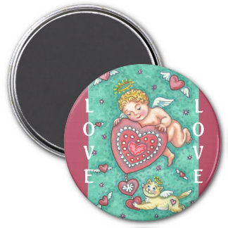 CUPID'S HEART AND ANGEL KITTEN VALENTINE MAGNET
