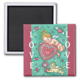 CUPID'S HEART AND ANGEL KITTEN VALENTINE MAGNET Sq