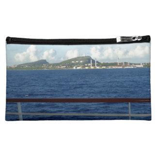 Curacao Coastline and Ship Railing Makeup Bag