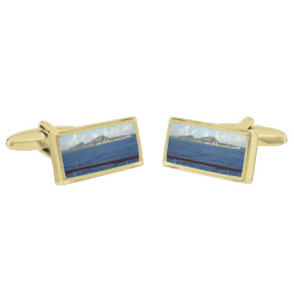 Curacao Coastline Gold Finish Cufflinks