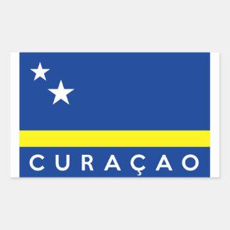 curacao flag country text name rectangular sticker