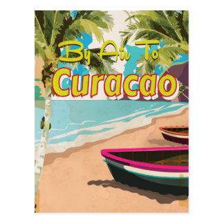 Curacao Retro Vacation Travel Poster Postcard