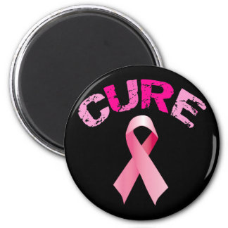 CURE BREAST CANCER RIBBON 6 CM ROUND MAGNET