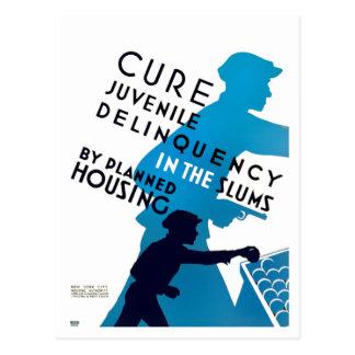Cure Juvenile Delinquency in the Slums Postcard