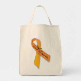 Cure Leukemia Orange Ribbon Organic Grocery Tote