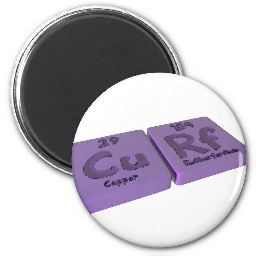 Curf as Cu Copper and Rf Rutherfordium Fridge Magnet