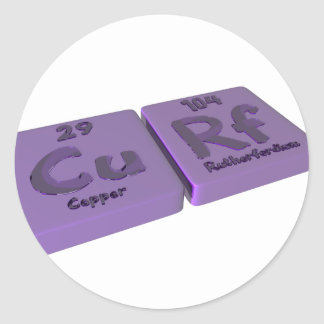 Curf as Cu Copper and Rf Rutherfordium Round Sticker