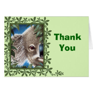 Curios Koala Green Leaf Design Thank You Note Card