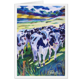 """Curiosity"" original Watercolor of Dairy Cows Card"