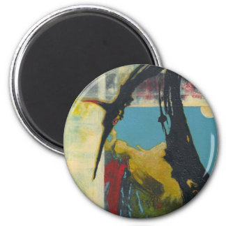 Curiosity the abstract dragon 6 cm round magnet