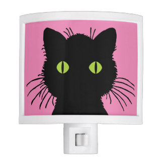 Curious and Cute Green-Eyed Black Cat Design Night Lites