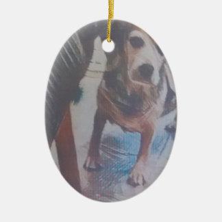 Curious Beagle Ceramic Oval Decoration