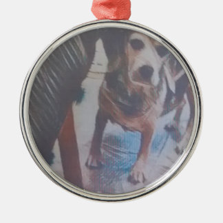 Curious Beagle Silver-Colored Round Decoration