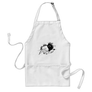 Curious Black and White Kitty Cat Standard Apron