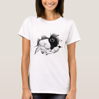 Curious Black and White Kitty Cat T-Shirt