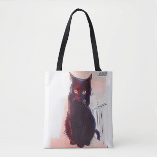 Curious Black Cat all-over tote bag