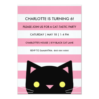 Curious Black Cat | Stripes | Birthday Party Card