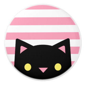 Curious Black Cat | Stripes | Pink & White Ceramic Knob