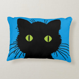 Curious Black Cat with Large Green Eyes Decorative Cushion