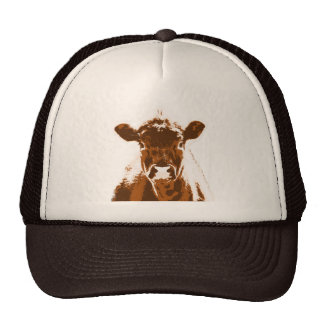 Curious Brown Cow Farm animal Cap