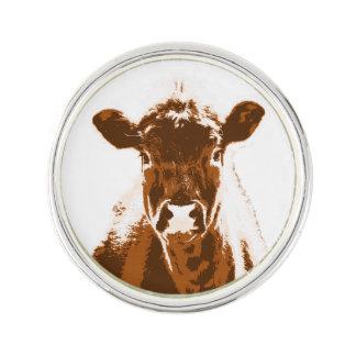 Curious Brown Cow Farm animal Lapel Pin