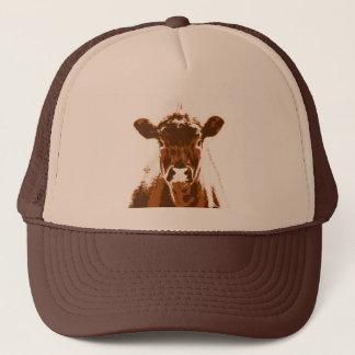 Curious Brown Cow Farm animal Trucker Hat